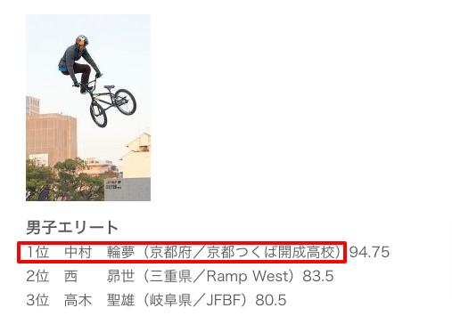 日本自転車競技連盟掲載の中村輪夢の所属高校