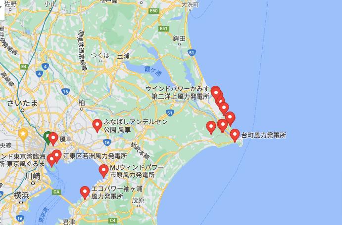 銚子市の風力発電MAP